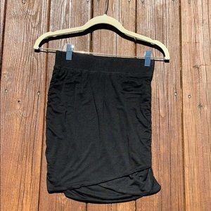 NWOT Ruched Black Cotton Skirt